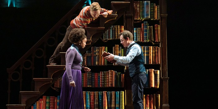 Left to right – Michelle Gayle (Hermione Granger), Thomas Aldridge (Ron Weasley) and Jamie Ballard (Harry Potter), in the West End Production of Harry Potter and the Cursed Child, photo credit Manuel Harlan.