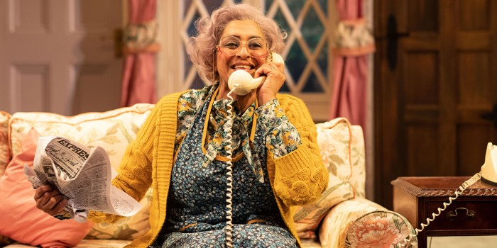 Meera Syal (Dotty Otley) in Noises Off. Photo Credit Helen Maybanks.