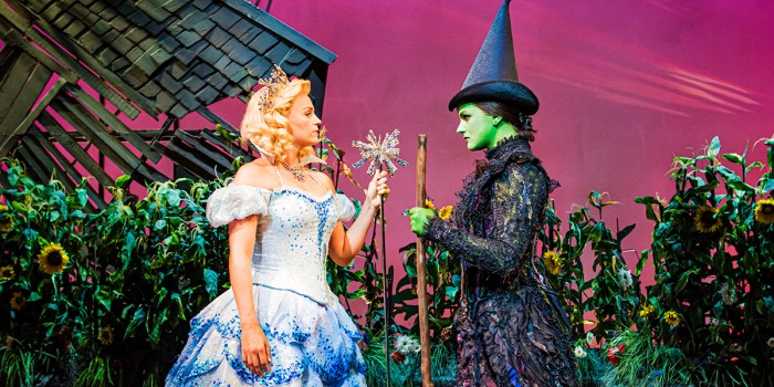 Helen Woolf (Glinda) and Nikki Bentley (Elphaba). Photo By Matt Crockett.