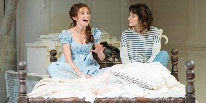 Grace Molony as Emma Watson and Louise Ford as Laura in The Watsons. Photo by Manuel Harlan.