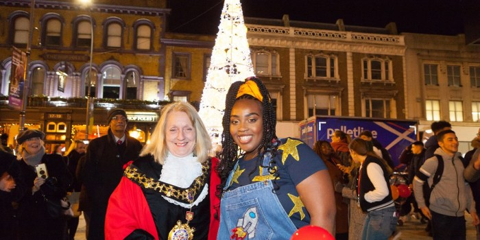 Timmika Ramsay, who will be playing Cinderella in the upcoming Panto at the Lyric Hammersmith Theatre, with the Mayor of Hammersmith & Fulham, Councillor Daryl Brown