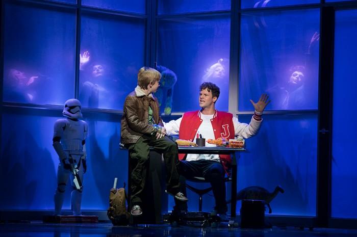 Austen Phelan as Billy, Jay McGuiness as Josh Baskin. Photo by Alastair Muir
