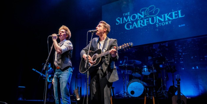 The Simon and Garfunkel Story Adam Dickinson as Paul Simon and Kingsley Judd as Art Gurfunkel. Photo by Hamish Gill