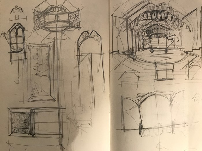 The Grinning Man set sketches (Credit: Jon Bausor)