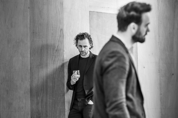 l-r Tom Hiddleston and Charlie Cox in rehearsal for 'Betrayal'. Photo credit Marc Brenner.