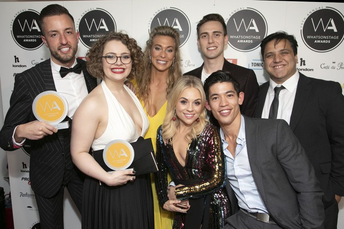 Paul Taylor Mills, Carrie Hope Fletcher, Jodie Steele (behind), Jamie Muscato (behind), Sophie Isaacs (front), Christopher Chung (front), Nathan Amzi (behind) - photo by Dan Wooller