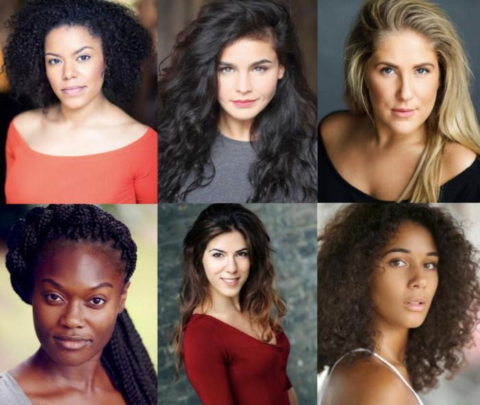 SIX cast Jarneia Richard-Noel, Millie O'Connell, Natalie Paris, Alexia McIntosh, Aimie Atkinson, Maiya Quansah-Breed