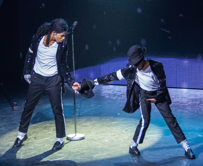 Kieran Alleyne (MJ) and Xhanti Mbonzongwana (young MJ) performing Billie Jean at Thriller Live (Photo: Betty Zapata)