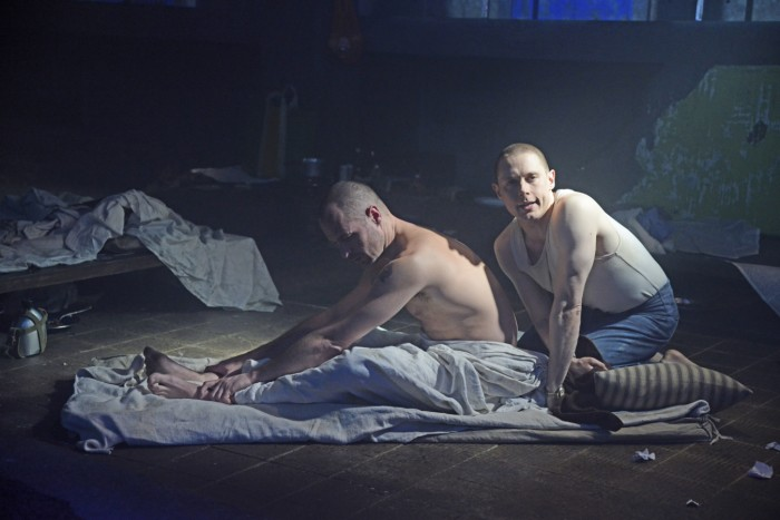 Declan Bennett (Valentin) and Samuel Barnett (Molina) in Kiss Of The Spider Woman. (Photo: Nobby Clark)