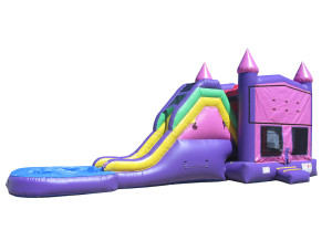 Pink & Purple Castle w/pool $240 plus tax, delivered, set up, 8hr rental