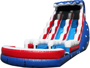 22' Stars & Stripes Dual Lane w/Pool $375.00 INCLUDING DELIVERY, SETUP, & PICKUP for 24 hrs.