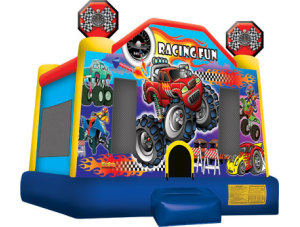 Racing Fun Jump (Lg) $135.00 15 x 15ft. INCLUDING DELIVERY, SETUP, & PICKUP for a 24 hour reservation.