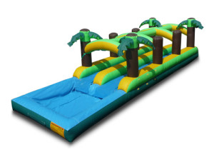 Dual Lane 38 Ft Tropical Slip n Slide w/pool