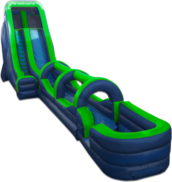Inflatable Water Slide Tall: 22' Tall Slide Green/Blue With Slip N Slide