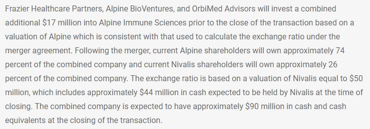 Zitat aus PR 18.04.2017 Alpine Immune Sciences