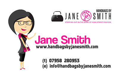 Professional design services – business card design for Jane Smith Handbags