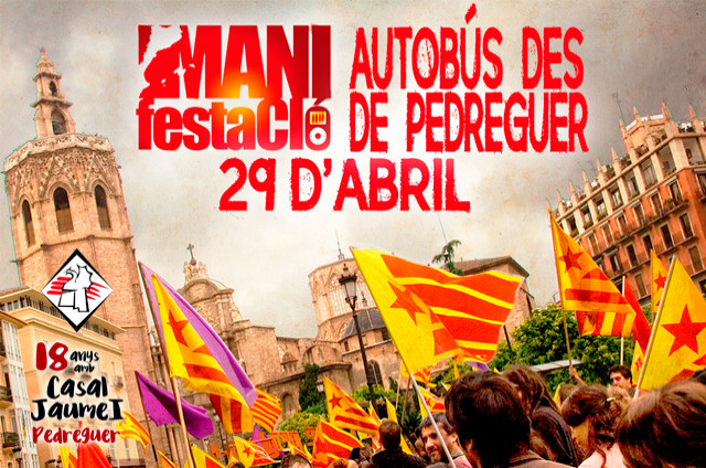 Autobús Manifestació 29A València - Casal Cultural Jaume I Pedreguer