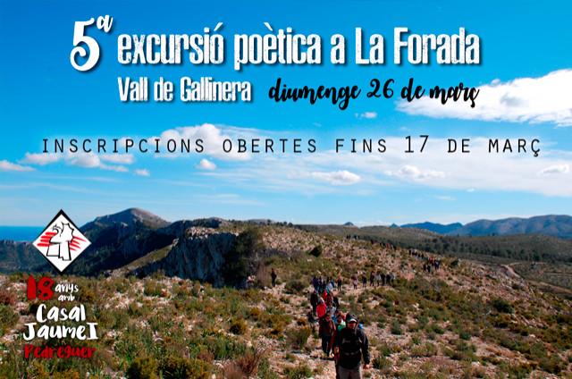 Inscripcions Excursió Poètica a La Foradà - Casal Cultural Jaume I Pedreguer