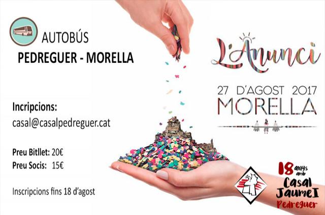 Autobús Pedreguer - Morella - L'anunci 27 agost - Casal Cultural Jaume I Pedreguer