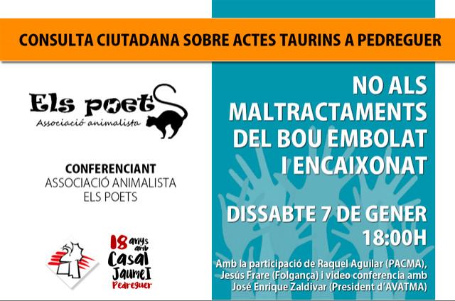 Consula Actes Taurins, Conferència Associació Animalista Els Poets