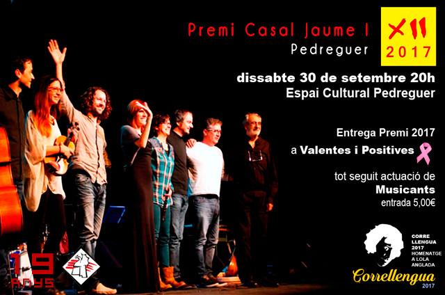 XII Premi Casal Jaume I a Valentes i Positives i Concert de Musicants