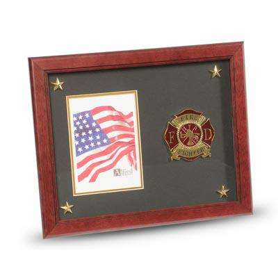 Firefighter Medallion 5-Inch by 7-Inch Picture Frame with Stars