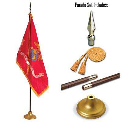 U.S. Marine Corps 3 x 5 Indoor Display and Parade Flag Set