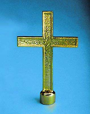 Golden Plated Passion Cross Indoor Flag Pole Ornament