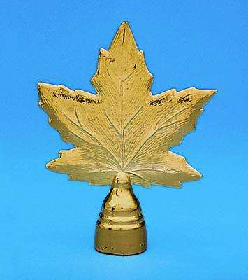 Golden Plated Canadian Maple Leaf Indoor Flag Pole Ornament