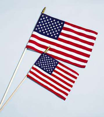 "12"" x 18"" American Stick Flag w/ Spear - Cotton Hemmed U.S. Stick Flag"