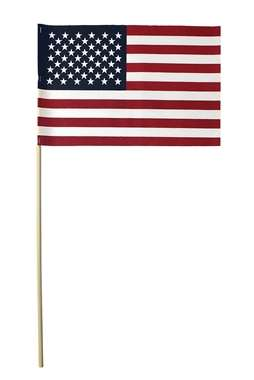 8x12 American Stick Flag No Fray 5/16 x 24 Shaft No Spear