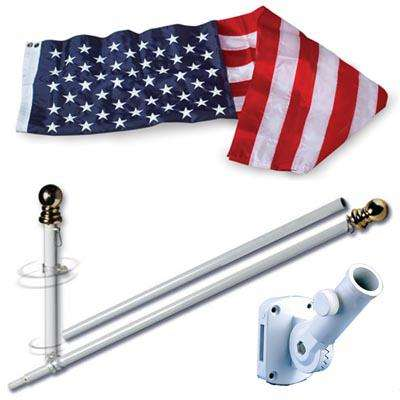 U.S. Flag Set - 3 x 5  Embroidered Nylon Flag and 6 Spinning Flag Pole