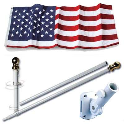 U.S. Flag Set - 3 x 5  Embroidered Polyester Flag and 6 Spinning Flag Pole