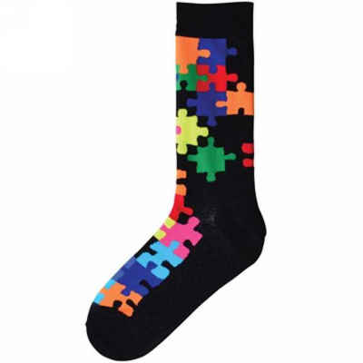 Colorful Jigsaw Puzzle Pattern Socks - Men