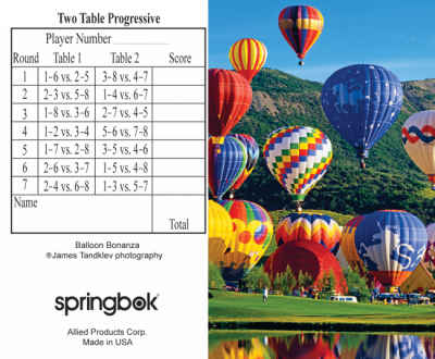 Balloon Bonanza Bridge Tally Sheets Bridge Playing Cards Accessory