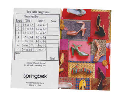 Shoes! Shoes! Shoes! Bridge Tally Sheets Bridge Playing Cards Accessory