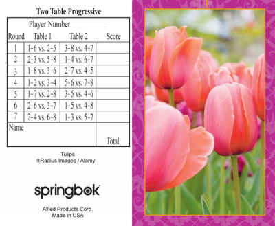 Tulips Bridge Tally Sheets Bridge Playing Cards Accessory