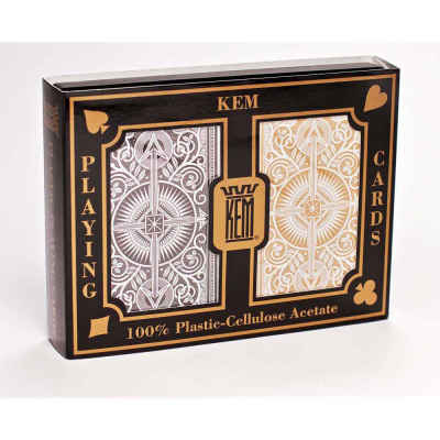 Kem Arrow Narrow Standard Index Playing Cards Black and Gold Decks Standard Index Playing Cards
