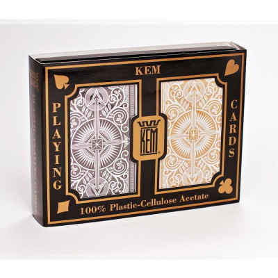 Kem Arrow Narrow Jumbo Print Index Playing Cards Black and Gold Decks