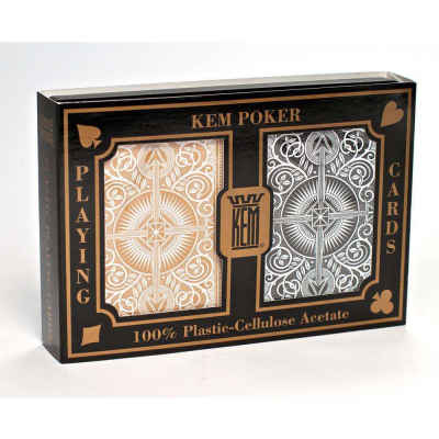 Kem Arrow Wide Jumbo Print Index Playing Cards Gold and Black Decks