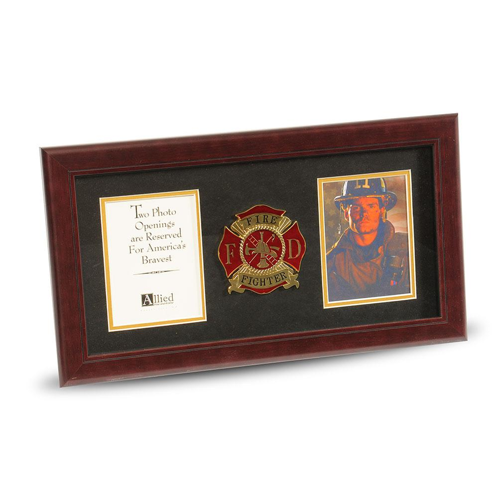 firefighter medallion 4 inch by 6 inch double picture frame - Double Frames