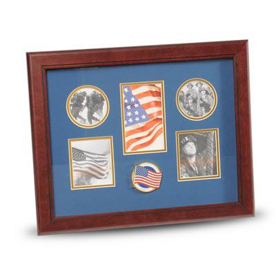 American Flag Medallion 5 Picture Collage Frame