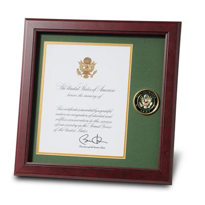 U.S. Army Medallion 8-Inch by 10-Inch Presidential Memorial Certificate Frame