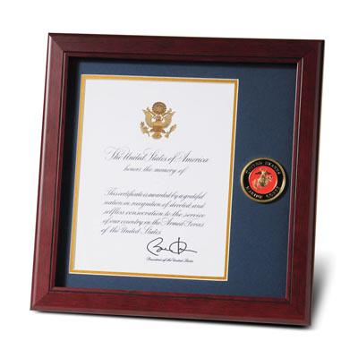 U.S. Marine Corps Medallion 8-Inch by 10-Inch Presidential Memorial Certificate Frame