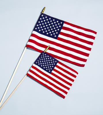 "American Handheld Stick Flag -  Cotton Hemmed US Flag 8""x12"" - From 0.73 to 0.79 ea."