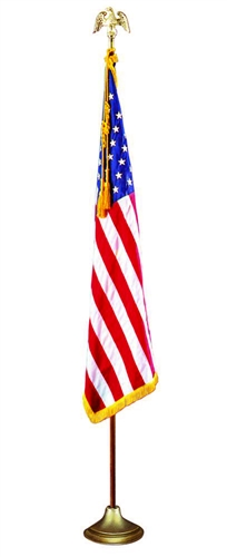 U.S. Fringed Flag with Oak Mounting Set - 4' X 6'