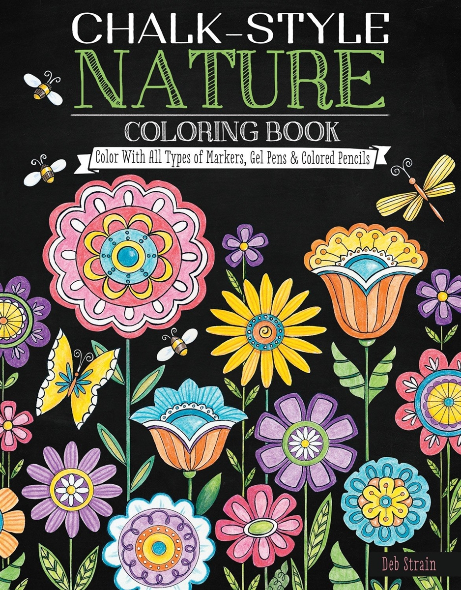 Nature Chalk Style Adult Coloring Book