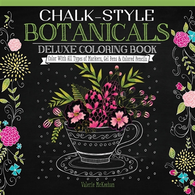 Botanicals Chalk Style Adult Coloring Book