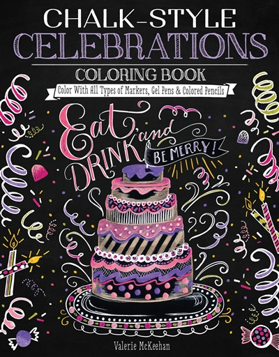 Celebrations Chalk Style Adult Coloring Book