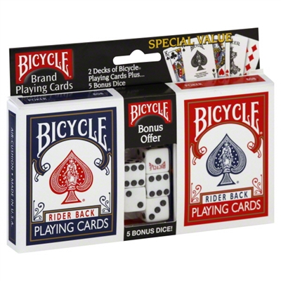 Bicycle 2-Pack Standard Index Playing Cards & Dice Set